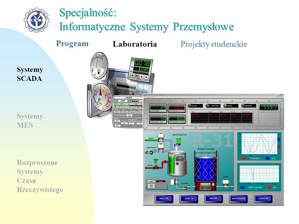 Program LaboratoriaProjekty studenckie Systemy SCADA Systemy MES Rozproszone Systemy Czasu Rzeczywistego Specjalność: Informatyczne Systemy Przemysłowe