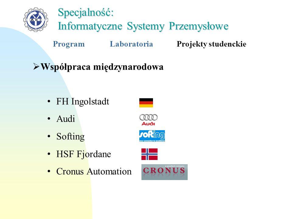 Współpraca międzynarodowa FH Ingolstadt Audi Softing HSF Fjordane Cronus Automation Specjalność: Informatyczne Systemy Przemysłowe ProgramLaboratoriaP