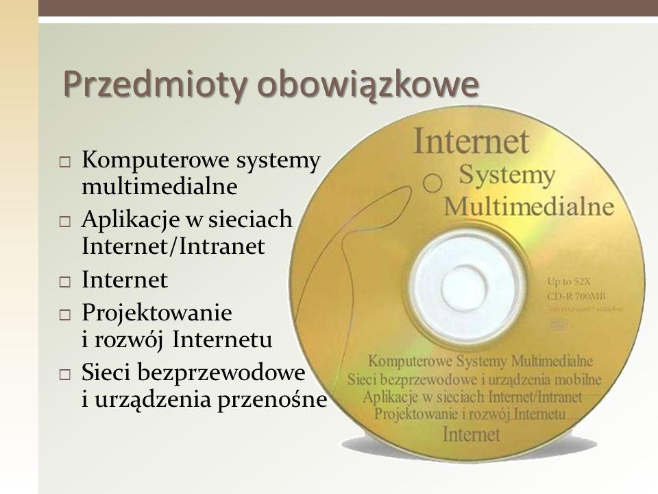 Komputerowe systemy multimedialne Aplikacje w sieciach Internet/Intranet Internet Projektowanie i rozwój Internetu Sieci bezprzewodowe i urządzenia pr