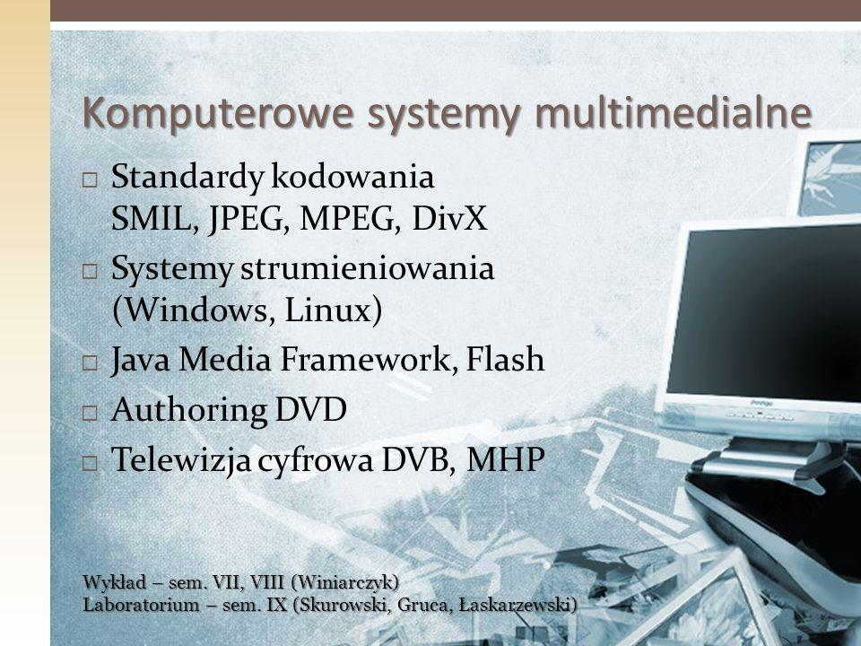 Standardy kodowania SMIL, JPEG, MPEG, DivX Systemy strumieniowania (Windows, Linux) Java Media Framework, Flash Authoring DVD Telewizja cyfrowa DVB, M