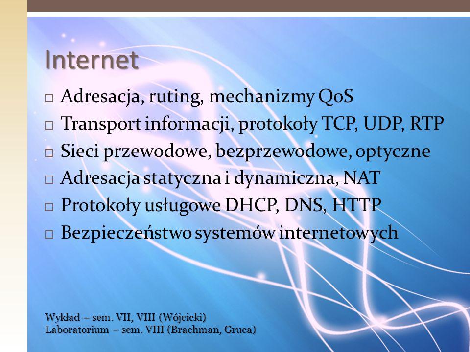 Projektowanie i rozwój Internetu Przesył multimediów, Internet 3D Rozwój mechanizmów kontroli natężenia ruchu pakietów i unikania przeciążeń Mechanizmy gwarancji jakości usług QoS, jakość usług w protokole IPv6 Narzędzia wspomagające projektowanie i analizę działania nowych mechanizmów w węzłach sieci Internet Wykład – sem.