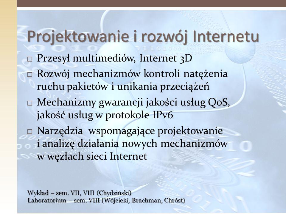 Projektowanie i rozwój Internetu Przesył multimediów, Internet 3D Rozwój mechanizmów kontroli natężenia ruchu pakietów i unikania przeciążeń Mechanizm