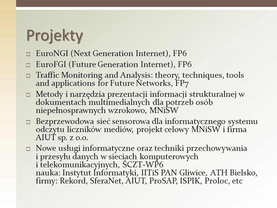 EuroNGI (Next Generation Internet), FP6 EuroFGI (Future Generation Internet), FP6 Traffic Monitoring and Analysis: theory, techniques, tools and appli