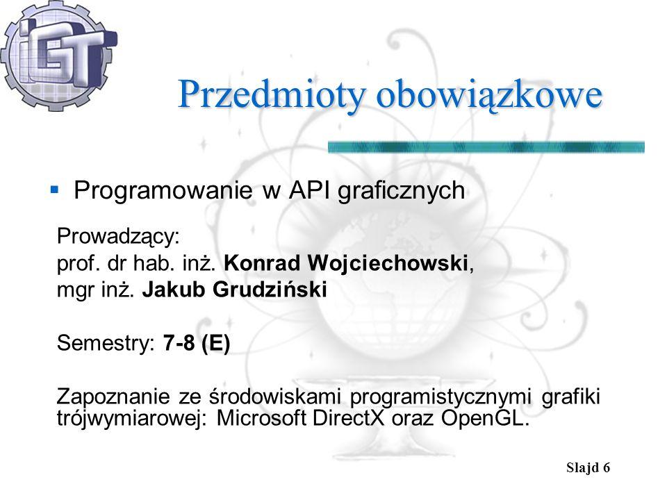 Slajd 6 Przedmioty obowiązkowe Programowanie w API graficznych Prowadzący: prof. dr hab. inż. Konrad Wojciechowski, mgr inż. Jakub Grudziński Semestry