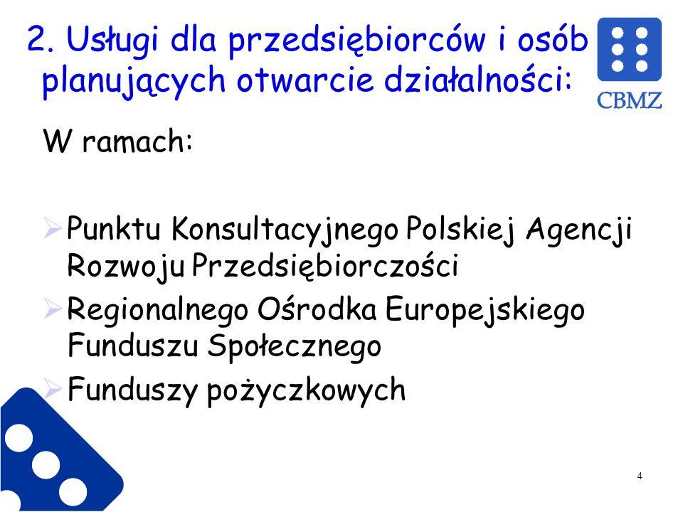 2. Usługi dla przedsiębiorców i osób planujących otwarcie działalności: W ramach: Punktu Konsultacyjnego Polskiej Agencji Rozwoju Przedsiębiorczości R