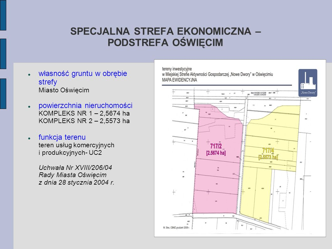 SPECJALNA STREFA EKONOMICZNA – PODSTREFA OŚWIĘCIM własność gruntu w obrębie strefy Miasto Oświęcim powierzchnia nieruchomości KOMPLEKS NR 1 – 2,5674 h