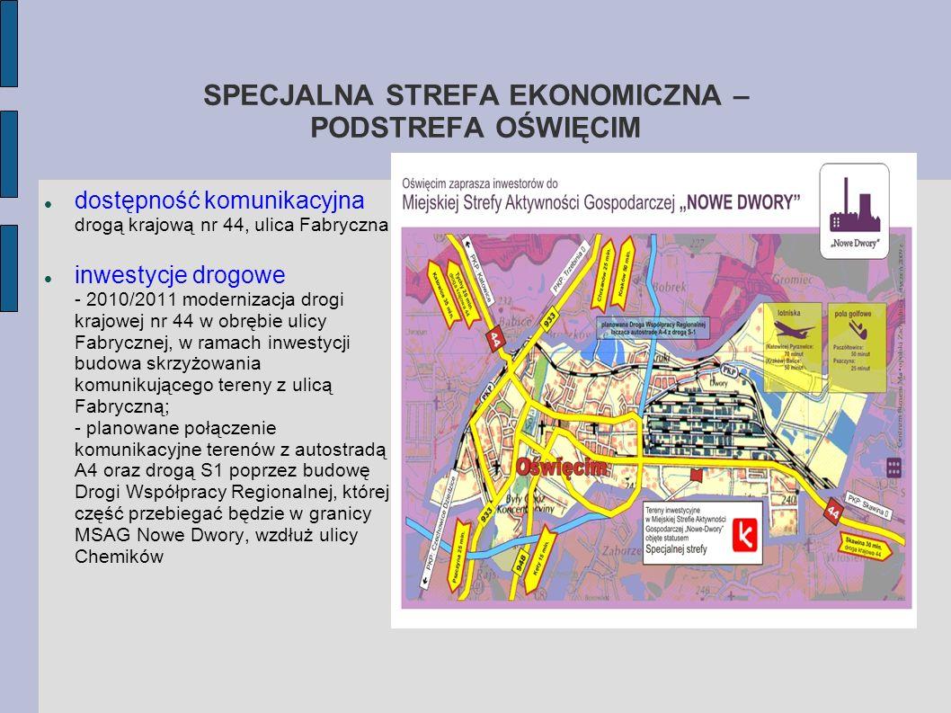 SPECJALNA STREFA EKONOMICZNA – PODSTREFA OŚWIĘCIM dostępność komunikacyjna drogą krajową nr 44, ulica Fabryczna inwestycje drogowe - 2010/2011 moderni