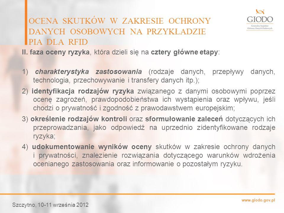 www.giodo.gov.pl Szczytno, 10-11 września 2012 OCENA SKUTKÓW W ZAKRESIE OCHRONY DANYCH OSOBOWYCH NA PRZYKŁADZIE PIA DLA RFID II. faza oceny ryzyka, kt