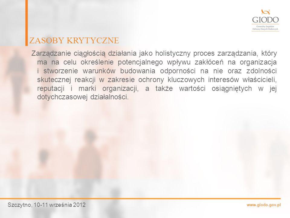 www.giodo.gov.pl Zarządzanie ciągłością działania jako holistyczny proces zarządzania, który ma na celu określenie potencjalnego wpływu zakłóceń na or