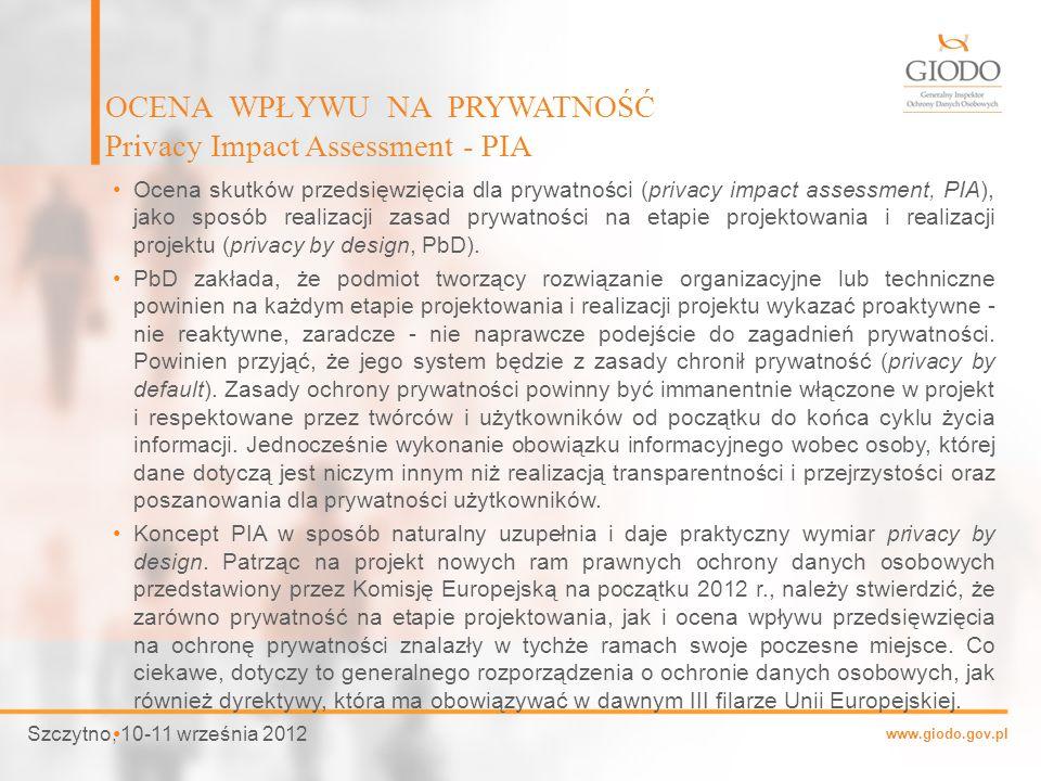 www.giodo.gov.pl Ocena skutków przedsięwzięcia dla prywatności (privacy impact assessment, PIA), jako sposób realizacji zasad prywatności na etapie pr