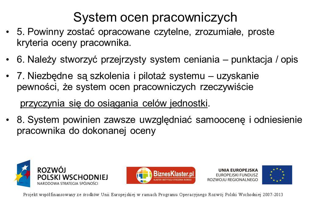 System ocen pracowniczych 5. Powinny zostać opracowane czytelne, zrozumiałe, proste kryteria oceny pracownika. 6. Należy stworzyć przejrzysty system c