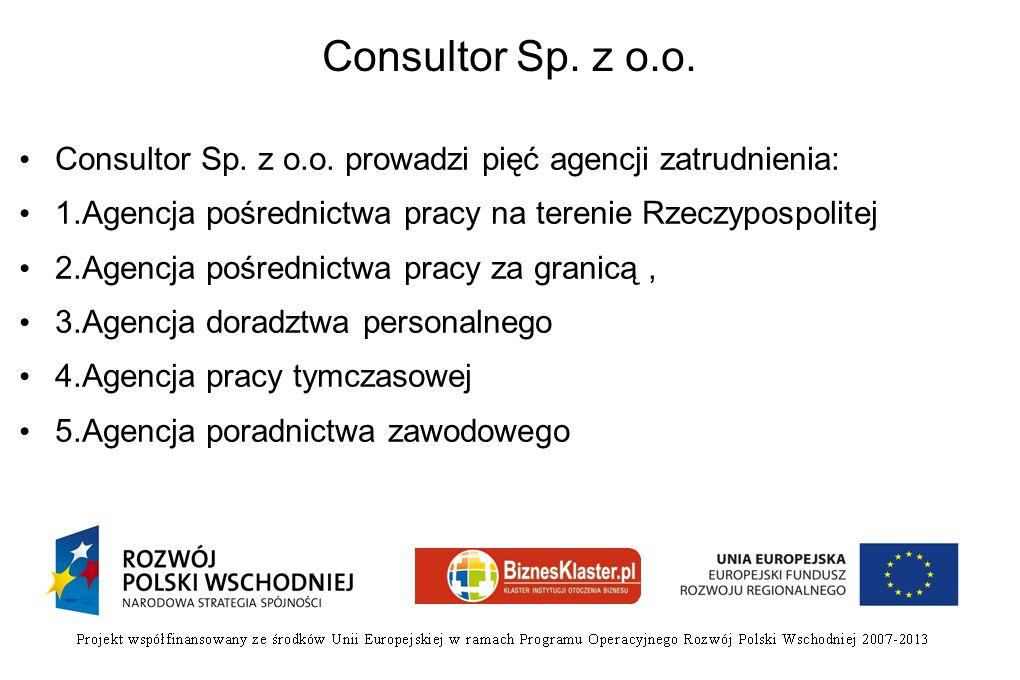 Consultor Sp. z o.o. Consultor Sp. z o.o. prowadzi pięć agencji zatrudnienia: 1.Agencja pośrednictwa pracy na terenie Rzeczypospolitej 2.Agencja pośre