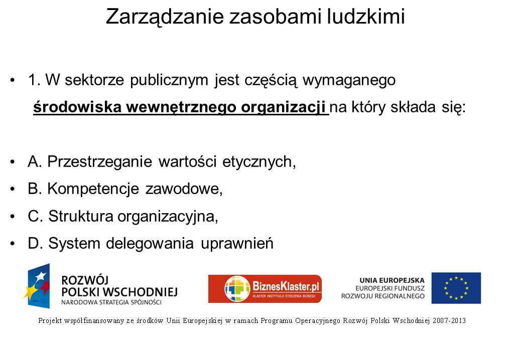 Zarządzanie zasobami ludzkimi 1. W sektorze publicznym jest częścią wymaganego środowiska wewnętrznego organizacji na który składa się: A. Przestrzega