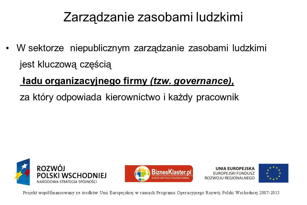 Zarządzanie zasobami ludzkimi W sektorze niepublicznym zarządzanie zasobami ludzkimi jest kluczową częścią ładu organizacyjnego firmy (tzw. governance