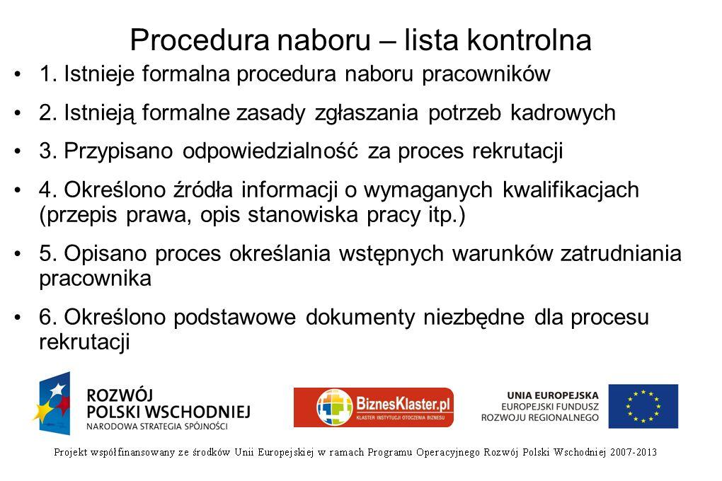 Procedura naboru – lista kontrolna 1. Istnieje formalna procedura naboru pracowników 2. Istnieją formalne zasady zgłaszania potrzeb kadrowych 3. Przyp