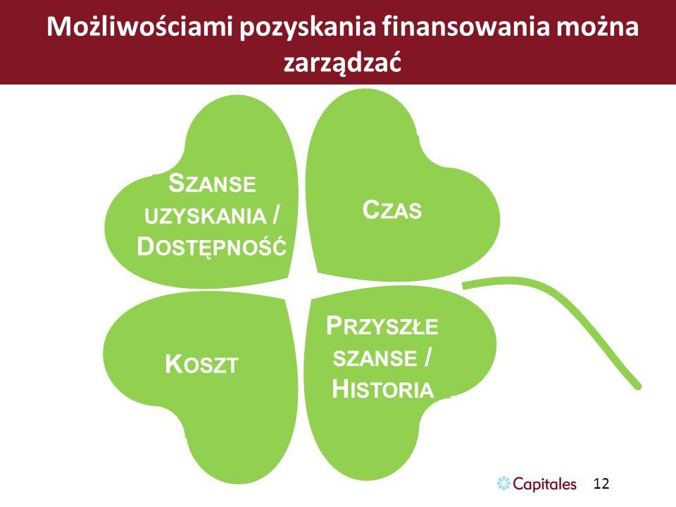 12 Możliwościami pozyskania finansowania można zarządzać S ZANSE UZYSKANIA / D OSTĘPNOŚĆ C ZAS K OSZT P RZYSZŁE SZANSE / H ISTORIA