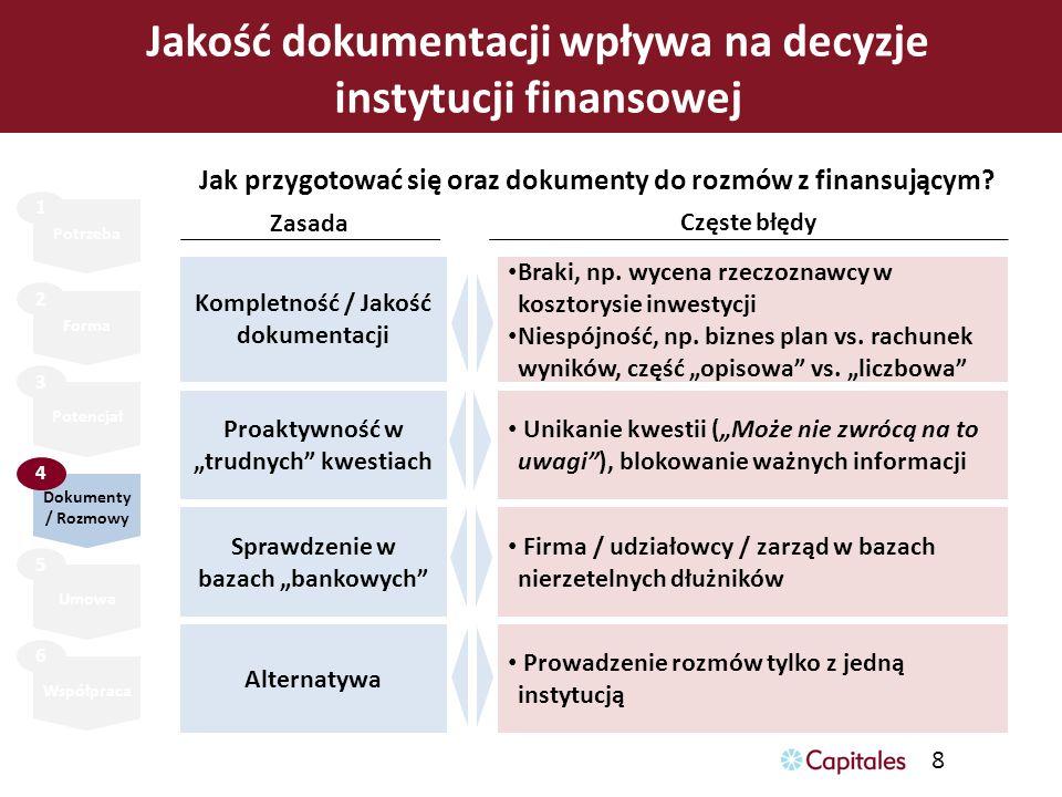 8 Jakość dokumentacji wpływa na decyzje instytucji finansowej Potrzeba Forma Potencjał Umowa Współpraca 1 2 3 5 6 Dokumenty / Rozmowy 4 Jak przygotowa