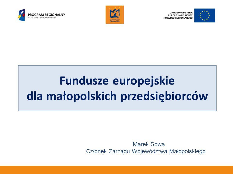 Fundusze europejskie dla małopolskich przedsiębiorców Marek Sowa Członek Zarządu Województwa Małopolskiego