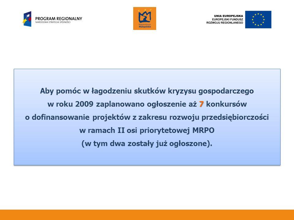 Aby pomóc w łagodzeniu skutków kryzysu gospodarczego 7 w roku 2009 zaplanowano ogłoszenie aż 7 konkursów o dofinansowanie projektów z zakresu rozwoju