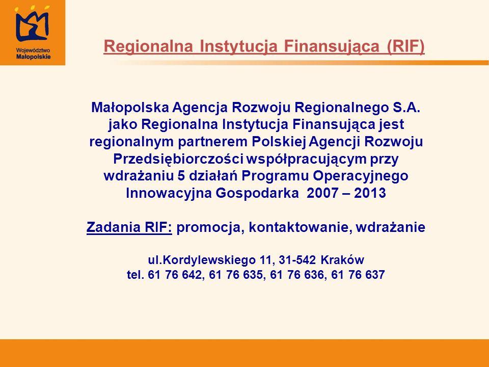 Małopolska Agencja Rozwoju Regionalnego S.A. jako Regionalna Instytucja Finansująca jest regionalnym partnerem Polskiej Agencji Rozwoju Przedsiębiorcz