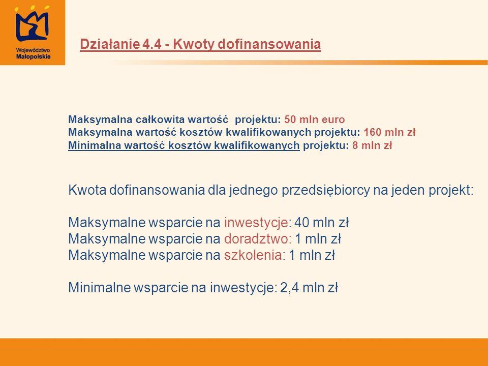 Maksymalna całkowita wartość projektu: 50 mln euro Maksymalna wartość kosztów kwalifikowanych projektu: 160 mln zł Minimalna wartość kosztów kwalifiko