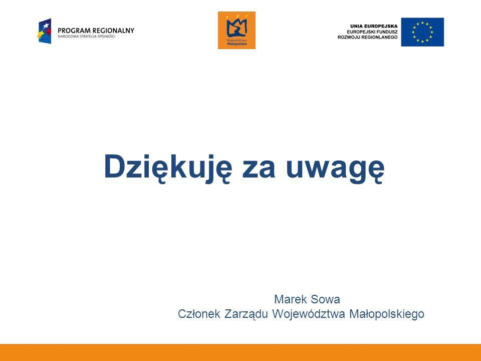 Dziękuję za uwagę Marek Sowa Członek Zarządu Województwa Małopolskiego