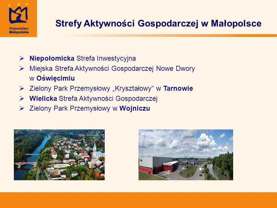 Wsparcie rozwoju stref inwestycyjnych Małopolski Regionalny Program Operacyjny Działanie 4.3 Tworzenie i rozwój stref aktywności gospodarczej Schemat A: Strefy aktywności gospodarczej o powierzchni 2-20 ha Schemat B: Strefy aktywności gospodarczej o powierzchni powyżej 20 ha Cel kompleksowe uzbrajanie nowych terenów inwestycyjnych poszerzanie oraz dozbrajanie istniejących stref aktywności gospodarczej inwestycje w inkubatory przedsiębiorczości na obszarach stref aktywności gospodarczych Alokacja finansowa: 64 mln EUR
