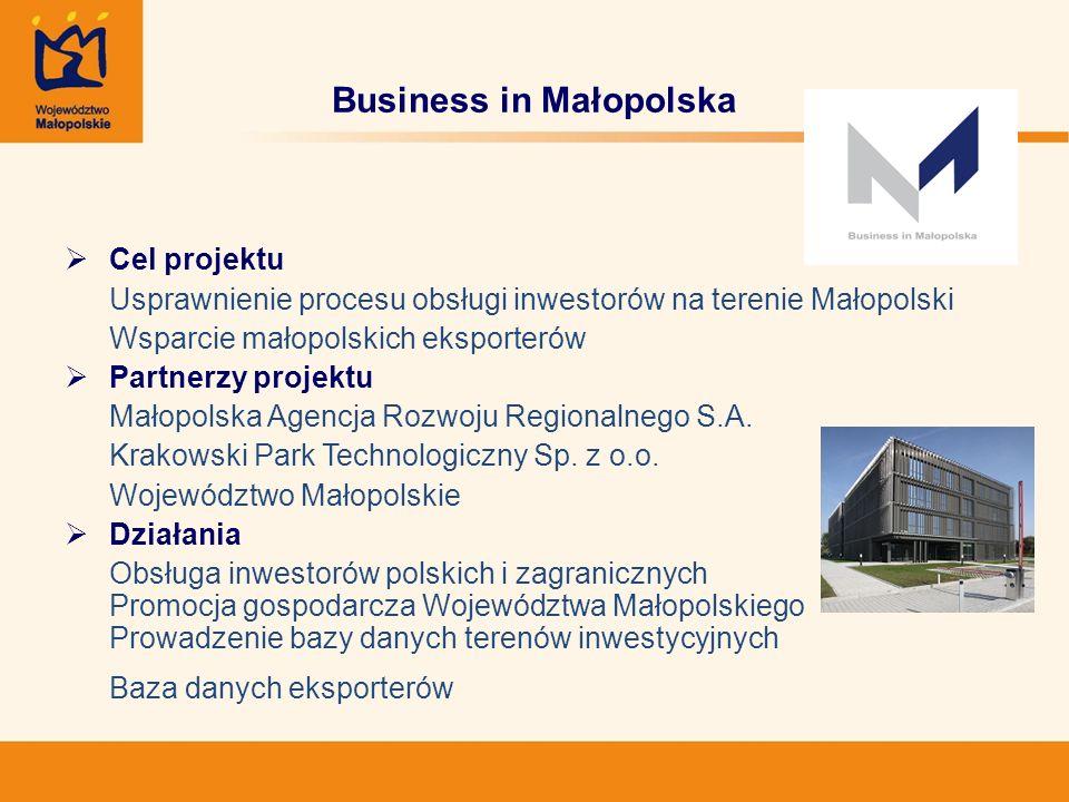 Business in Małopolska Cel projektu Usprawnienie procesu obsługi inwestorów na terenie Małopolski Wsparcie małopolskich eksporterów Partnerzy projektu