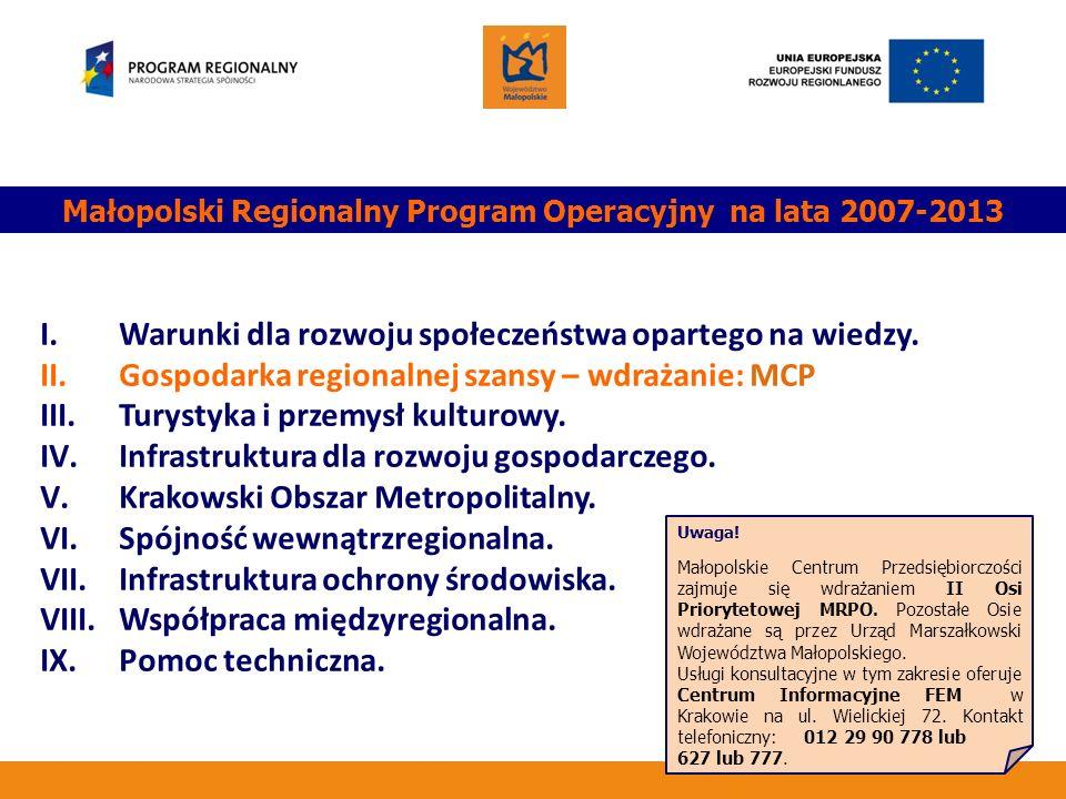Małopolski Regionalny Program Operacyjny na lata 2007-2013 I. Warunki dla rozwoju społeczeństwa opartego na wiedzy. II. Gospodarka regionalnej szansy