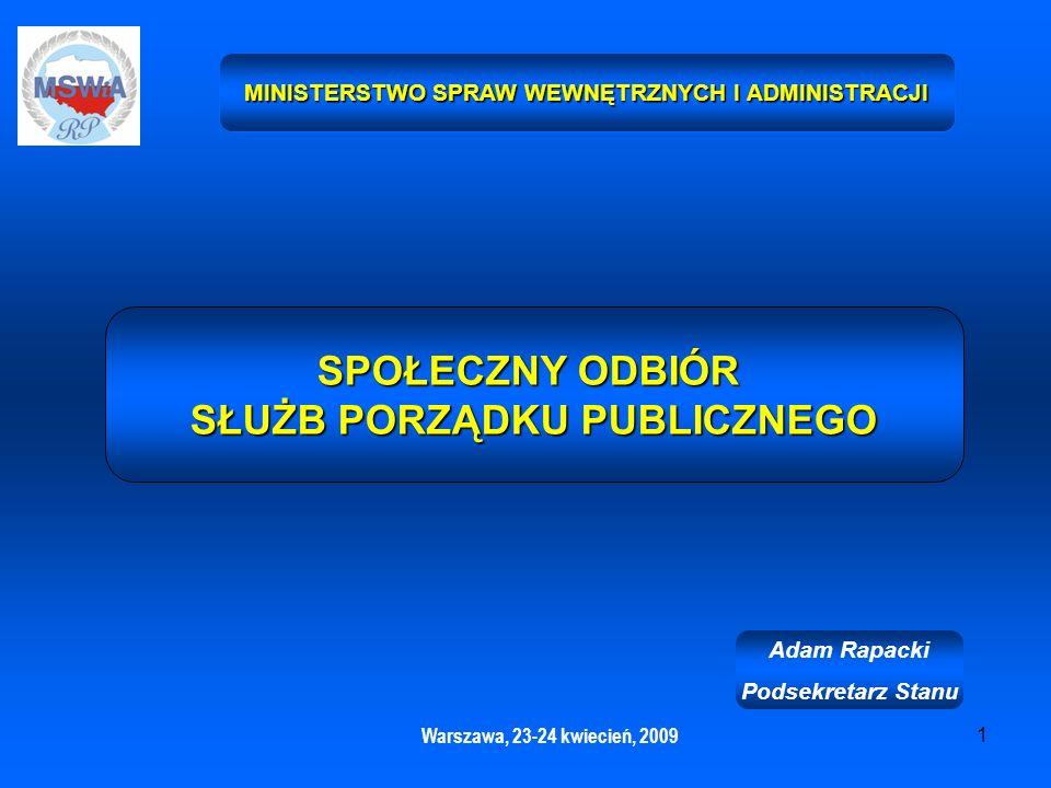 1 MINISTERSTWO SPRAW WEWNĘTRZNYCH I ADMINISTRACJI Warszawa, 23-24 kwiecień, 2009 SPOŁECZNY ODBIÓR SŁUŻB PORZĄDKU PUBLICZNEGO Adam Rapacki Podsekretarz