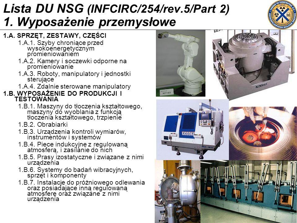 Lista DU NSG (INFCIRC/254/rev.5/Part 2) 1. Wyposażenie przemysłowe 1.A. SPRZĘT, ZESTAWY, CZĘŚCI 1.A.1. Szyby chroniące przed wysokoenergetycznym promi