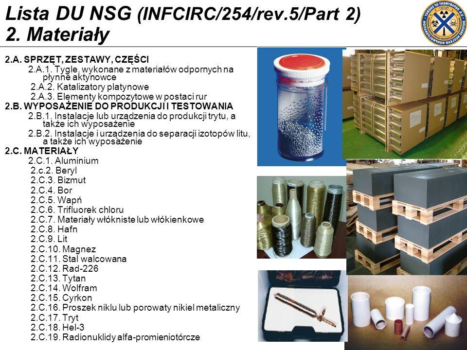 Lista DU NSG (INFCIRC/254/rev.5/Part 2) 2. Materiały 2.A. SPRZĘT, ZESTAWY, CZĘŚCI 2.A.1. Tygle, wykonane z materiałów odpornych na płynne aktynowce 2.