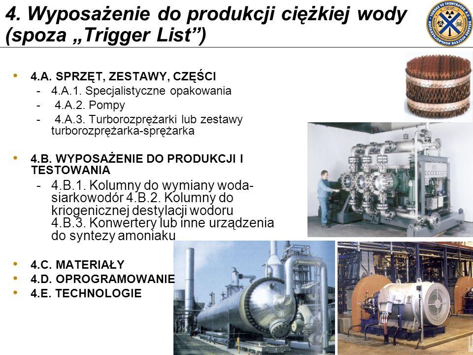 4. Wyposażenie do produkcji ciężkiej wody (spoza Trigger List) 4.A. SPRZĘT, ZESTAWY, CZĘŚCI -4.A.1. Specjalistyczne opakowania - 4.A.2. Pompy - 4.A.3.