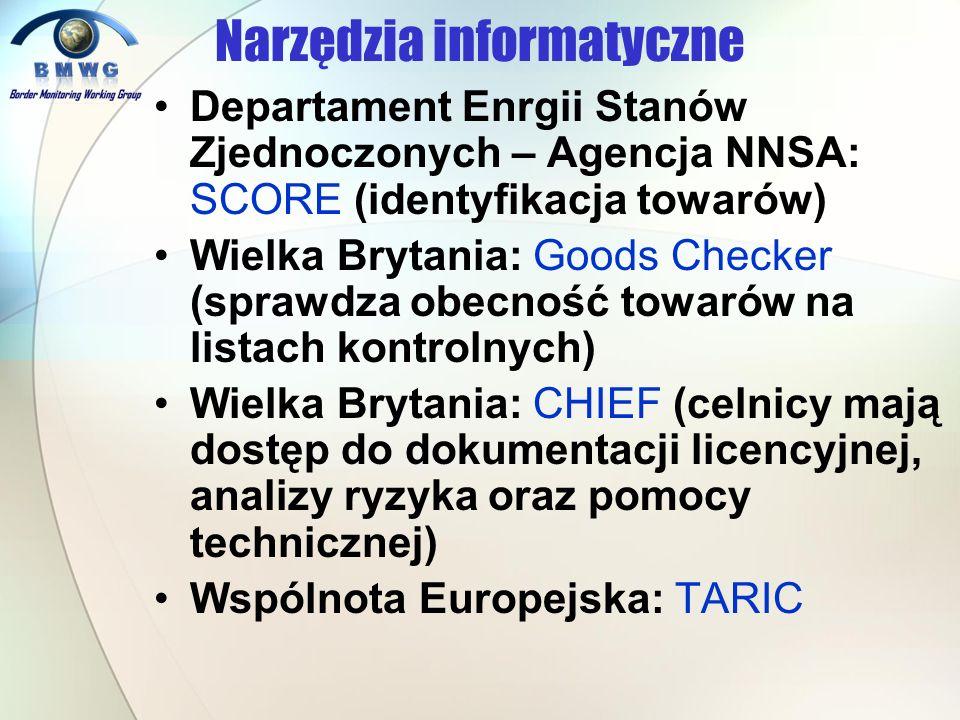 Narzędzia informatyczne Departament Enrgii Stanów Zjednoczonych – Agencja NNSA: SCORE (identyfikacja towarów) Wielka Brytania: Goods Checker (sprawdza