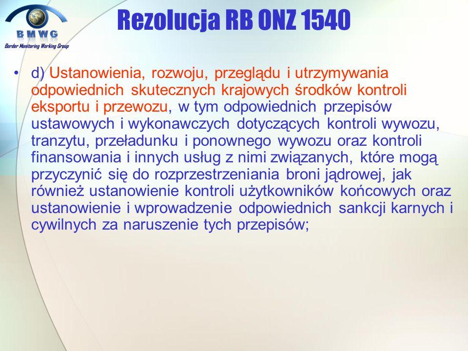 d) Ustanowienia, rozwoju, przeglądu i utrzymywania odpowiednich skutecznych krajowych środków kontroli eksportu i przewozu, w tym odpowiednich przepis