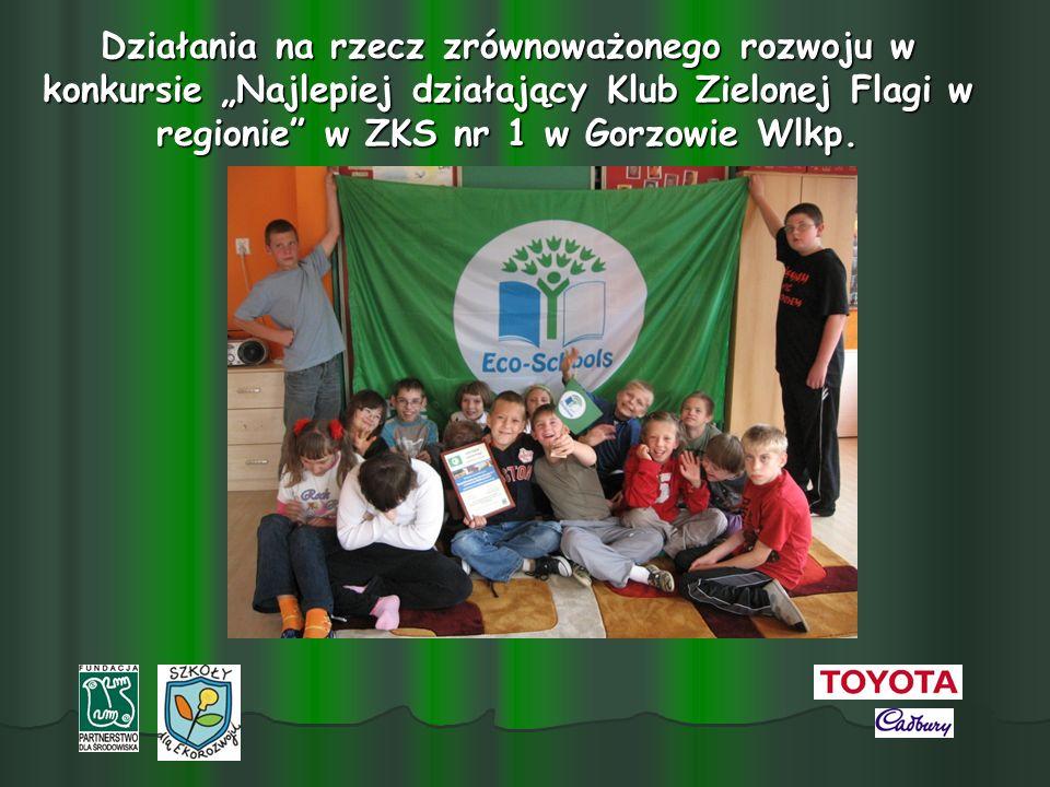 Działania na rzecz zrównoważonego rozwoju w konkursie Najlepiej działający Klub Zielonej Flagi w regionie w ZKS nr 1 w Gorzowie Wlkp.