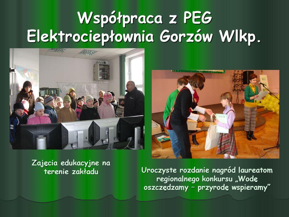 Współpraca z PEG Elektrociepłownia Gorzów Wlkp. Zajęcia edukacyjne na terenie zakładu Uroczyste rozdanie nagród laureatom regionalnego konkursu Wodę o
