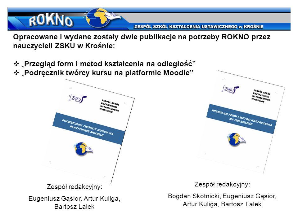 Opracowane i wydane zostały dwie publikacje na potrzeby ROKNO przez nauczycieli ZSKU w Krośnie: Przegląd form i metod kształcenia na odległość Podręcz