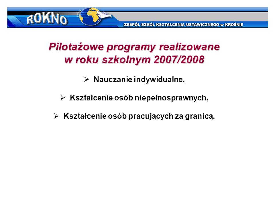 Pilotażowe programy realizowane w roku szkolnym 2007/2008 Nauczanie indywidualne, Kształcenie osób niepełnosprawnych, Kształcenie osób pracujących za