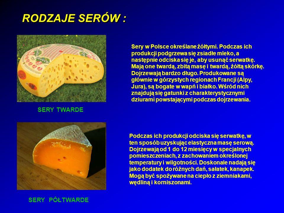 RODZAJE SERÓW : Sery w Polsce określane żółtymi.