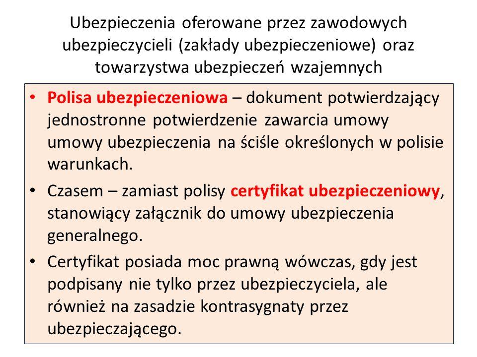 Ubezpieczenia oferowane przez zawodowych ubezpieczycieli (zakłady ubezpieczeniowe) oraz towarzystwa ubezpieczeń wzajemnych Polisa ubezpieczeniowa – do