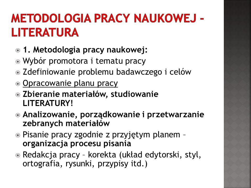 1. Metodologia pracy naukowej: Wybór promotora i tematu pracy Zdefiniowanie problemu badawczego i celów Opracowanie planu pracy Zbieranie materiałów,