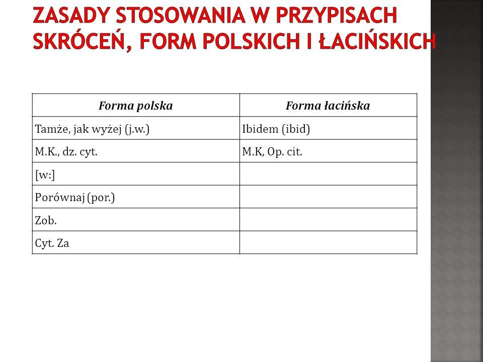 Forma polskaForma łacińska Tamże, jak wyżej (j.w.)Ibidem (ibid) M.K., dz. cyt.M.K, Op. cit. [w:] Porównaj (por.) Zob. Cyt. Za