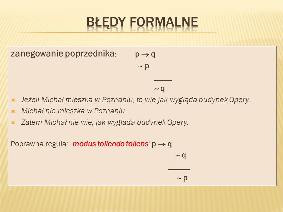 zanegowanie poprzednika : p q p ____ q Jeżeli Michał mieszka w Poznaniu, to wie jak wygląda budynek Opery. Michał nie mieszka w Poznaniu. Zatem Michał