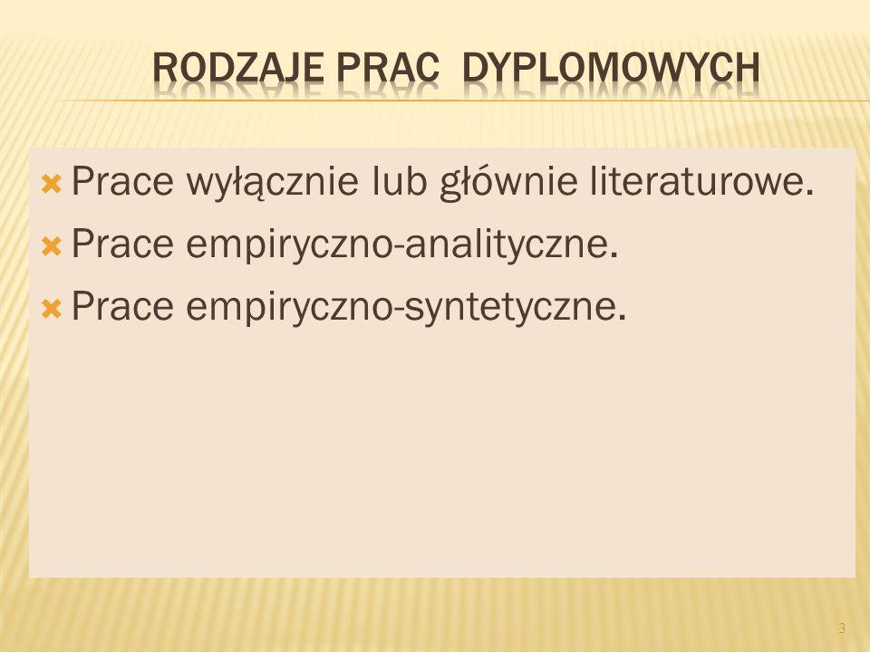 Prace wyłącznie lub głównie literaturowe. Prace empiryczno-analityczne. Prace empiryczno-syntetyczne. 3