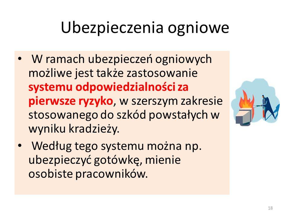 Ubezpieczenia ogniowe W ramach ubezpieczeń ogniowych możliwe jest także zastosowanie systemu odpowiedzialności za pierwsze ryzyko, w szerszym zakresie