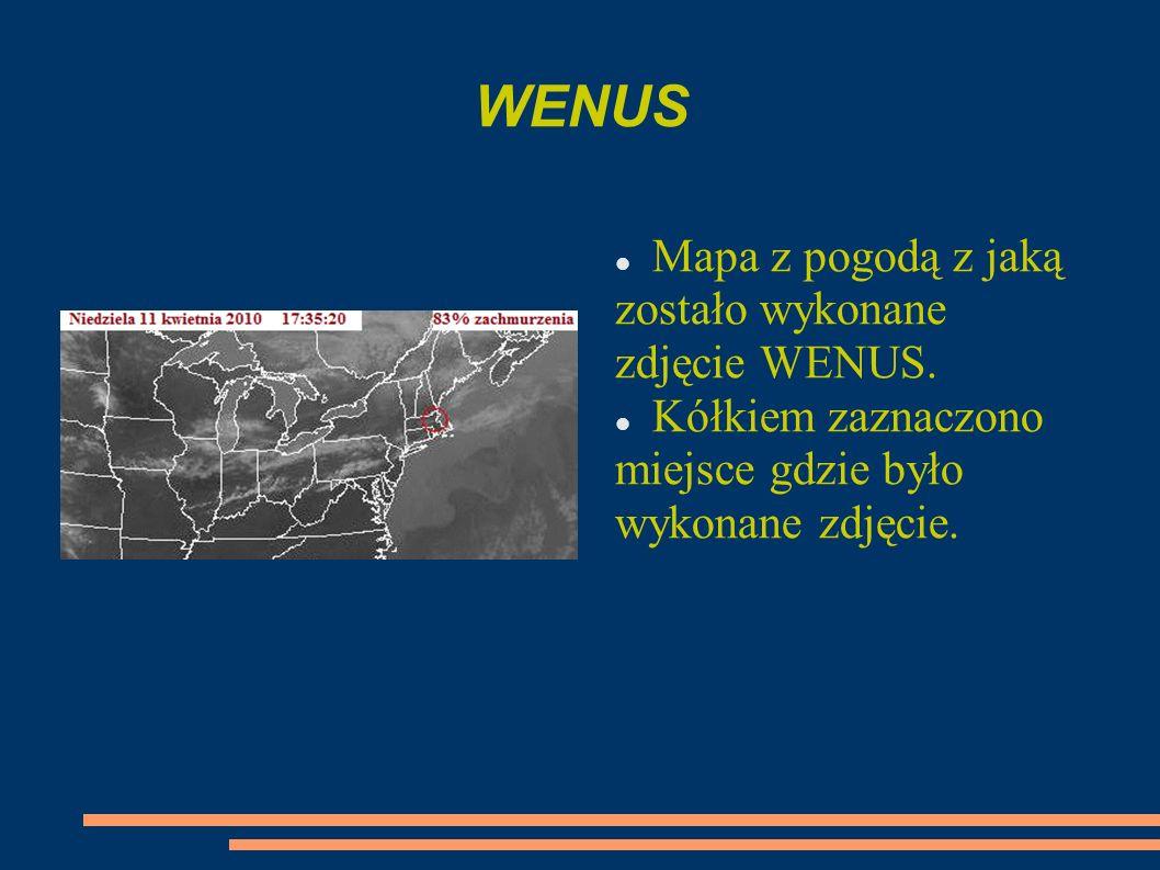 WENUS Mapa z pogodą z jaką zostało wykonane zdjęcie WENUS. Kółkiem zaznaczono miejsce gdzie było wykonane zdjęcie.