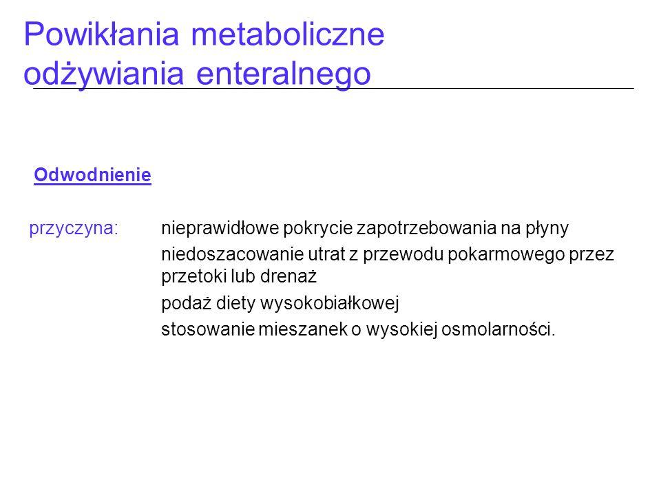 Powikłania metaboliczne odżywiania enteralnego Odwodnienie przyczyna:nieprawidłowe pokrycie zapotrzebowania na płyny niedoszacowanie utrat z przewodu