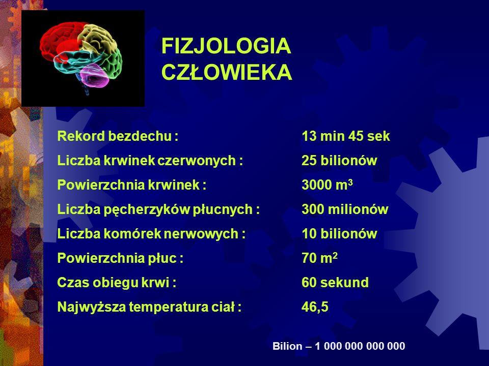 FIZJOLOGIA CZŁOWIEKA Rekord bezdechu : 13 min 45 sek Liczba krwinek czerwonych :25 bilionów Powierzchnia krwinek :3000 m 3 Liczba pęcherzyków płucnych