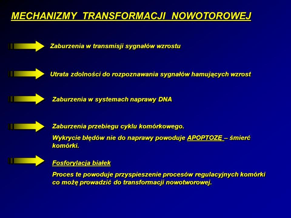 MECHANIZMY TRANSFORMACJI NOWOTOROWEJ Zaburzenia w transmisji sygnałów wzrostu Utrata zdolności do rozpoznawania sygnałów hamujących wzrost Zaburzenia w systemach naprawy DNA Zaburzenia przebiegu cyklu komórkowego.